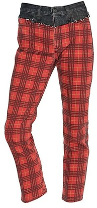 Hudson Bettie High-Rise Mixed-Media Plaid Tapered Jeans