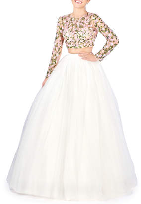 Mac Duggal Two-Piece Long-Sleeve Crop Top & Tulle Skirt Ball Gown Set