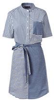Classic Women's Petite Short Sleeve Shirt Dress-Coastal Cobalt Multi Stripe