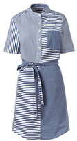 Classic Women's Short Sleeve Shirt Dress-White Stripe