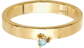 WWAKE 14kt Yellow Gold Opal Band Ring