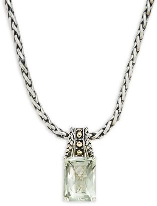 Effy Sterling Silver 18K Gold Green Amethyst Pendant Necklace