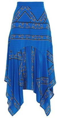 Ganni Asymmetric Printed Silk Crepe De Chine Midi Skirt