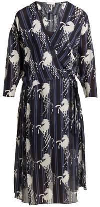 Chloé Little Horses-print Silk-georgette Wrap Dress - Womens - Blue Print