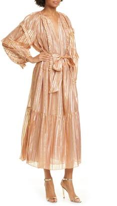 Ulla Johnson Talitha Metallic Stripe Long Sleeve Silk Maxi Dress
