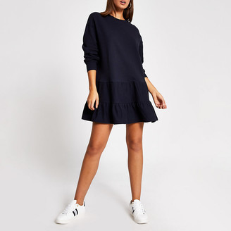 River Island Navy long sleeve mini smock sweatshirt dress