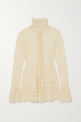 Paco Rabanne Pintucked Scalloped Lace Blouse - Ivory