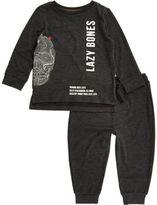 River Island Mini boys grey lazy bones print pajama set