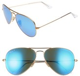 Ray-Ban Men's 58Mm Polarized Aviator Sunglasses - Matte Gold/ Blue Mirror