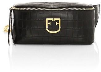Furla Isola Croc-Embossed Leather Belt Bag