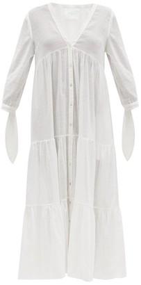 Loup Charmant Tonino Tiered Cotton Lace-jacquard Midi Dress - White