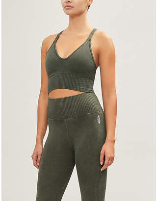 Free People Good Karma V-neck stretch-jersey cropped top