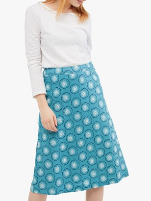 White Stuff Abstract Print Linen Midi Skirt, Pottery Blue
