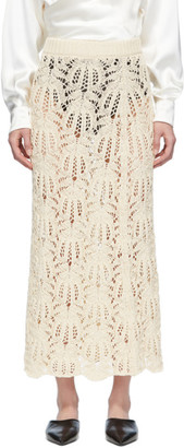 Jil Sander Off-White Knit Lace Long Skirt