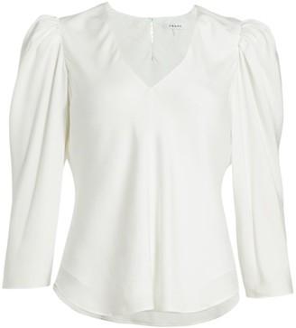 Frame Puff-Sleeve Silk V-Neck Top