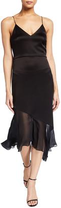 Alice + Olivia Felipa Asymmetric Seamed Slip Dress