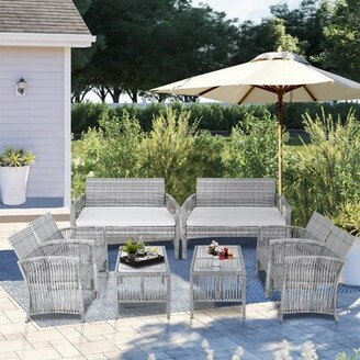 Red Barrel Studio Amiliano 8 Piece Rattan Complete Patio Set with Cushions Frame Color: Gray