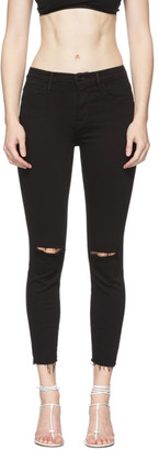 Frame Black Le High Skinny Crop Raw Edge Jeans