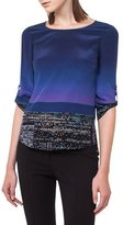 Akris Punto Twilight City Tab-Sleeve Top