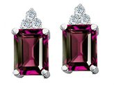 Tommaso design Studio Tommaso Design Octagon Cut 8x6 mm Genuine Rhodolite and Diamond Earrings 14k