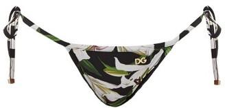 Dolce & Gabbana Lily-print Side-tie Bikini Briefs - Womens - Black Print