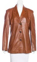 Max Mara Button-Up Leather Jacket