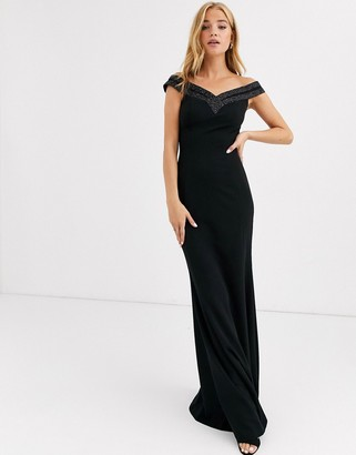 Lipsy off shoulder embellished maxi dress in black