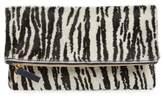 Clare Vivier Zebra Print Genuine Calf Hair Foldover Clutch