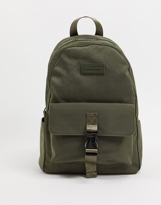 Consigned Clip Front Pocket Twill Backpack