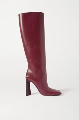 Balenciaga Moon Leather Knee Boots - Burgundy