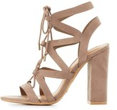 Charlotte Russe Bamboo Caged Lace-Up Sandals