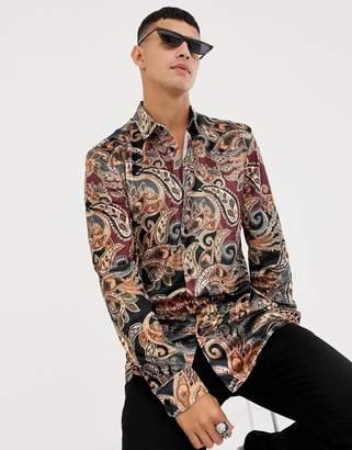Jaded London long sleeve shirt in velvet paisley print-Black