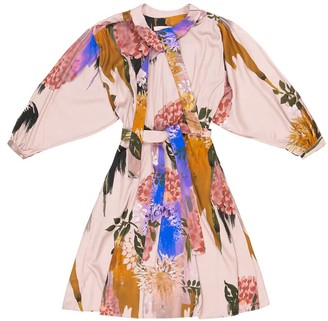 Tomcsanyi Marta Blurred Flower Print Tie Dress