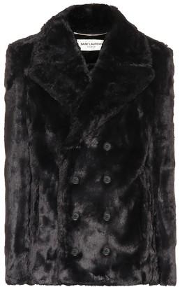 Saint Laurent Faux fur pea coat