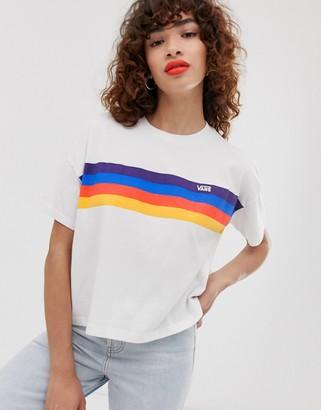 Vans rainbow stripe boyfriend t-shirt-Multi