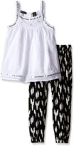 Calvin Klein Big Girls' Dotted Swiss Tunic with Printed Novelty Knit Pants