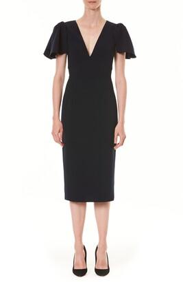 Carolina Herrera Ruffle Sleeve Sheath Dress