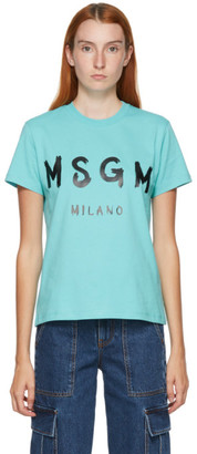 MSGM Blue Artist Logo T-Shirt