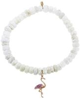 Sydney Evan Flamingo Charm On White Sapphire Beaded Bracelet