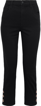 J Brand Ruby Cropped Corded Lace-paneled High-rise Slim-leg Jeans