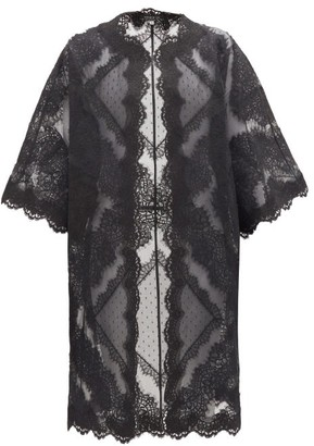 Andrew Gn Lace-trimmed Cotton-blend Organza Coat - Womens - Black