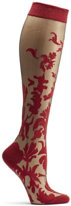 Ozone Women's Floral Damask Knee High Sock