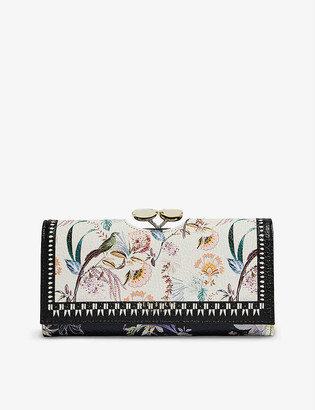 Ted Baker Decadence floral-print grained-leather matinee purse