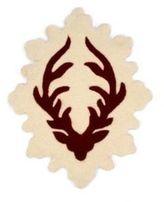 Deer Head Mat - Cranberry/Ecru