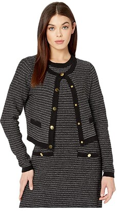 Milly Tweed Knit Cropped Cardigan (Black Multi) Women's Clothing