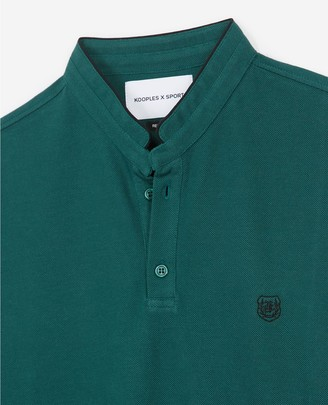The Kooples Embroidered green polo, officer collar, badge
