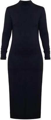 Undress Selina Dark Grey Fitted Turtleneck Jersey Midi Dress