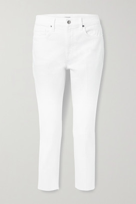Frame Le Beau Cropped Frayed High-rise Straight-leg Jeans - White