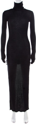 Maison Margiela Black Ribbed Knit Turtle Neck High Low Sweater Dress M