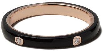 Ef Collection 14kt Rose Gold Black Enamel And Diamond Stack Ring